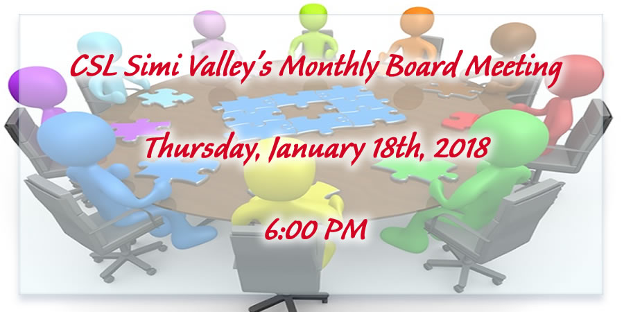 Board Of Trustees Monthly Meeting at CSL Simi Valley